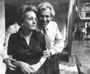"""ROMA, SETTEMBRE 1974, ROSSANA ROSSANDA E LUCIO MAGRI AL CONGRESSO NAZIONALE DE """" IL MANIFESTO """" ALL'EUR, GIORNALE, QUOTIDIANO, COMUNISTA, COMUNISMO, FONDATORI, GIORANALISTA, GIORNALISTI, ITALIA, ANNI 70, B/N"""
