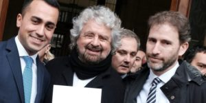 Five Star Movement (M5S) leader Luigi Di Maio (L) poses with movement's founders Beppe Grillo (C) and Davide Casaleggio (R) outside the Interior Ministry on January 19, 2018 after they registered their logo for the upcoming general elections to be held on March 4, 2018.  / AFP PHOTO / ANDREAS SOLARO        (Photo credit should read ANDREAS SOLARO/AFP/Getty Images)
