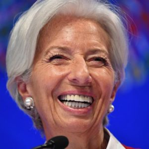 International Monetary Fund (IMF) Managing Director Christine Lagarde speaks during a press conference during the IMF - World Bank Spring Meetings at IMF Headquarters in Washington, DC, April 11, 2019. (Photo by MANDEL NGAN / AFP)