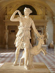 "Artemis with a hind, better known as ""Diana of Versailles"". Marble, Roman artwork, Imperial Era (1st-2nd centuries CE). Found in Italy"